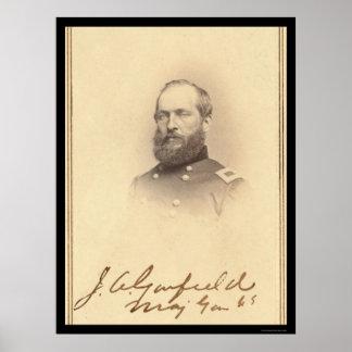 Presidente tarjeta firmada James Garfield 1861 Póster