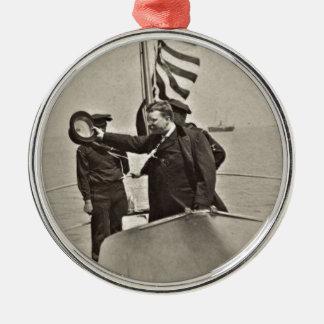 Presidente Teddy Roosevelt en los alces de Bull Adorno Navideño Redondo De Metal
