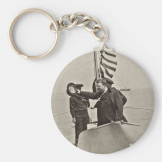 Presidente Teddy Roosevelt en los alces de Bull Llavero Redondo Tipo Pin
