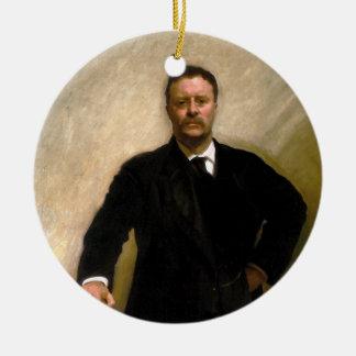 Presidente Theodore Roosevelt John Singer Sargent Adorno Navideño Redondo De Cerámica