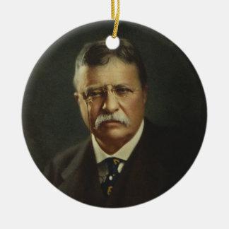 Presidente Theodore Roosevelt por la litografía de Adorno Navideño Redondo De Cerámica