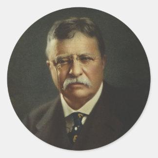 Presidente Theodore Roosevelt por la litografía de Pegatina Redonda