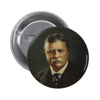 Presidente Theodore Roosevelt por la litografía de Pin Redondo De 2 Pulgadas