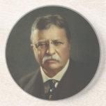 Presidente Theodore Roosevelt por la litografía de Posavasos Para Bebidas