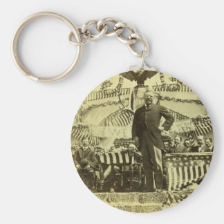 Presidente Theodore Roosevelt que habla 1903 Llavero Redondo Tipo Pin