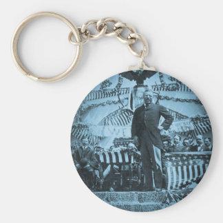Presidente Theodore Roosevelt que habla en Wyoming Llavero Redondo Tipo Pin