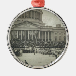 Presidente Theodore Roosevelt que toma juramento Adorno Navideño Redondo De Metal