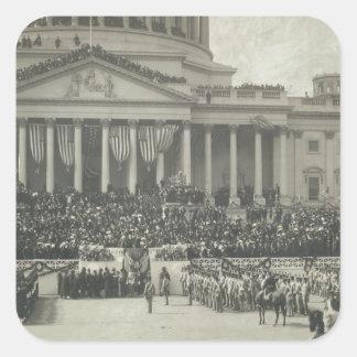 Presidente Theodore Roosevelt que toma juramento Pegatina Cuadrada