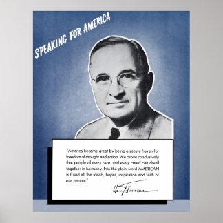 Presidente Truman -- Discurso para América Póster
