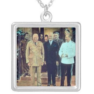 Presidente Truman y Joseph Stalin Colgante Cuadrado