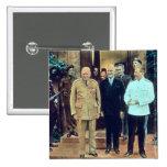 Presidente Truman y Joseph Stalin Pin Cuadrado