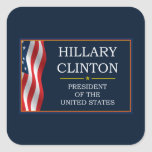 Presidente V3 de Hillary Clinton Calcomanía Cuadradas Personalizadas