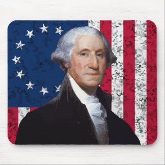 Presidente Washington y la bandera americana Tapete De Ratón