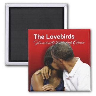 Presidente y primera señora Obama de los Lovebirds Imán Cuadrado