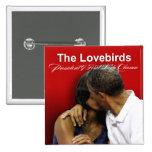 Presidente y primera señora Obama de los Lovebirds Pin Cuadrada 5 Cm