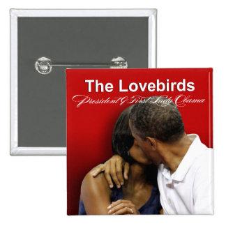 Presidente y primera señora Obama de los Lovebirds Pin Cuadrado