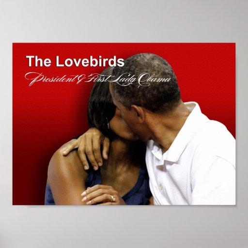 Presidente y primera señora Obama de los Lovebirds Póster