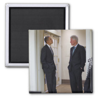 Presidentes Barack Obama y Bill Clinton Imán Cuadrado