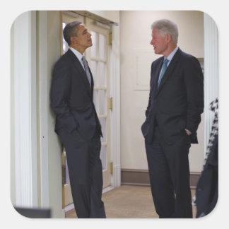 Presidentes Barack Obama y Bill Clinton Pegatina Cuadrada