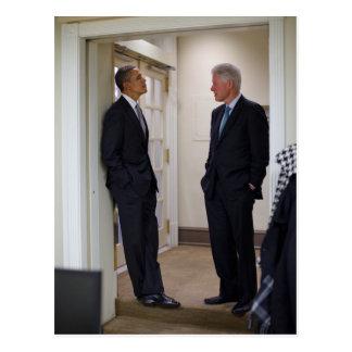 Presidentes Barack Obama y Bill Clinton Tarjetas Postales