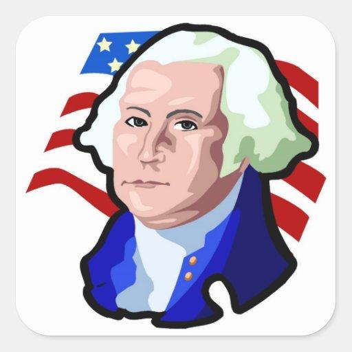 Presidentes Day, George Washington y bandera de Pegatina Cuadrada
