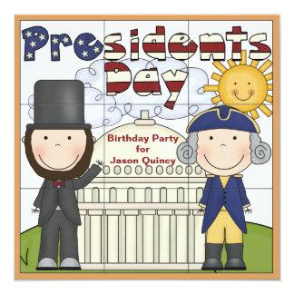 "Presidentes Day Invitation Invitación 5.25"" X 5.25"""