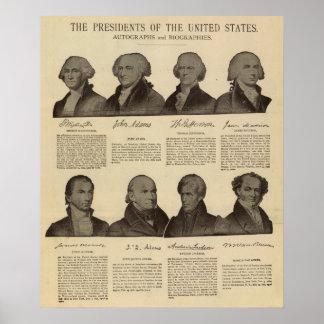 Presidentes los E E U U autógrafos biografías 2 Poster
