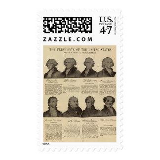 Presidentes los E.E.U.U., autógrafos, biografías 2 Sellos