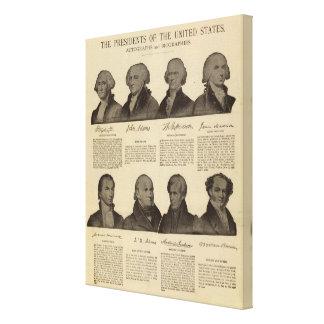 Presidentes los E.E.U.U., autógrafos, biografías Impresiones En Lienzo Estiradas