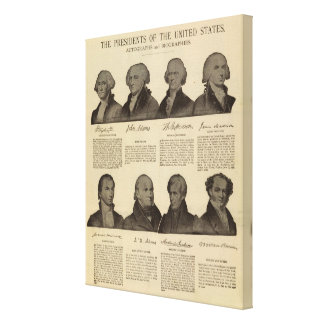 Presidentes los E E U U autógrafos biografías Impresiones En Lienzo Estiradas