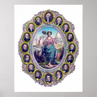 Presidentes y señora Liberty de los E E U U Posters
