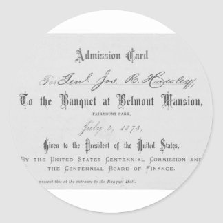 Presidential Banquest Admission Card Classic Round Sticker