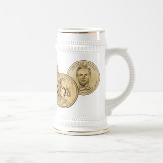 Presidential Coin White and Gold Stein Mugs