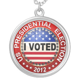 Presidential Election 2012 I voted Silver Plated Necklace