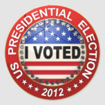 Presidential Election 2012 I voted Classic Round Sticker