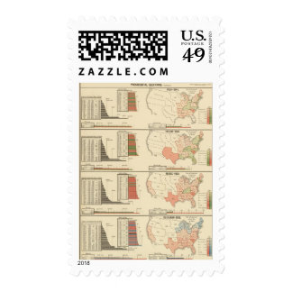 Presidential elections 1844-1856 postage stamps
