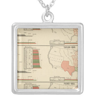 Presidential elections 1844-1856 square pendant necklace