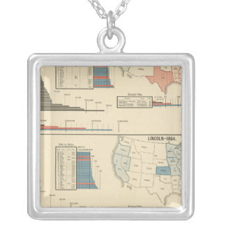 Presidential elections 1860-1868 square pendant necklace