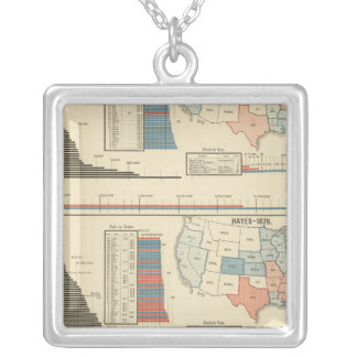 Presidential elections  1872-1880 silver plated necklace