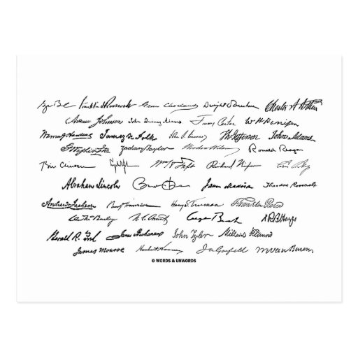 Presidential Signatures (United States Presidents) Postcard