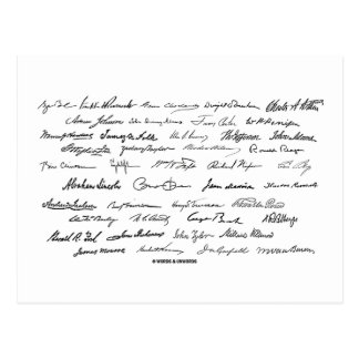 Presidential Signatures United States Presidents Postcard