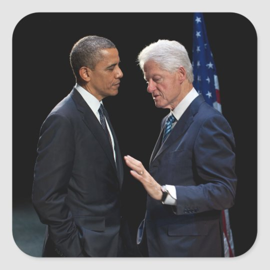 Presidents Barack Obama & Bill Clinton Square Sticker