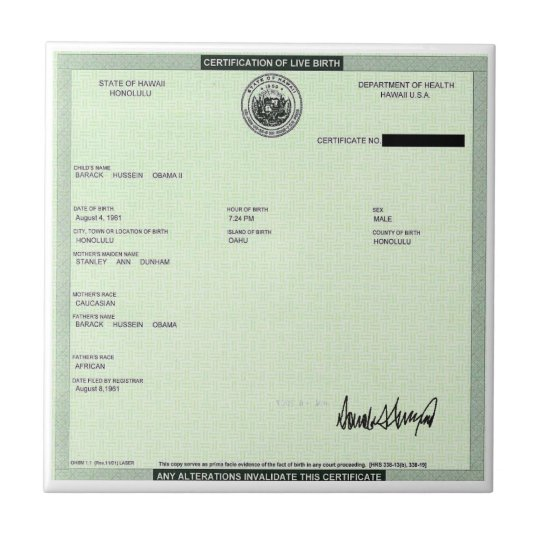 Presidents Birth Certificate Signed by Trump Ceramic Tile