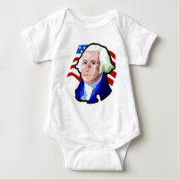 Presidents Day, George Washington and USA Flag Baby Bodysuit