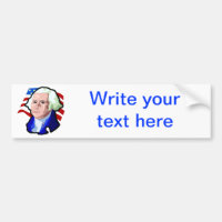 Presidents Day, George Washington and USA Flag Bumper Sticker