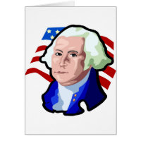 Presidents Day, George Washington and USA Flag Card
