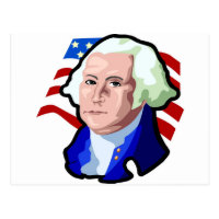 Presidents Day, George Washington and USA Flag Postcard