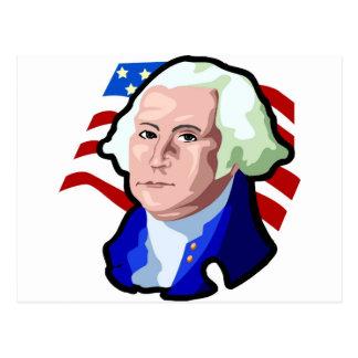 Presidents Day, George Washington and USA Flag Postcard