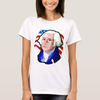 Presidents Day, George Washington and USA Flag T-Shirt