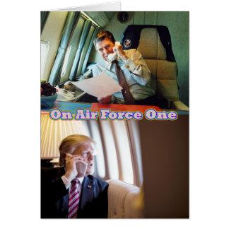 Presidents Reagan & Trump On Air Force One Card